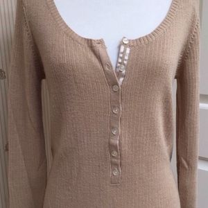 OLD NAVY KNIT HENLEY - CAMEL TAN - TUNIC LENGTH